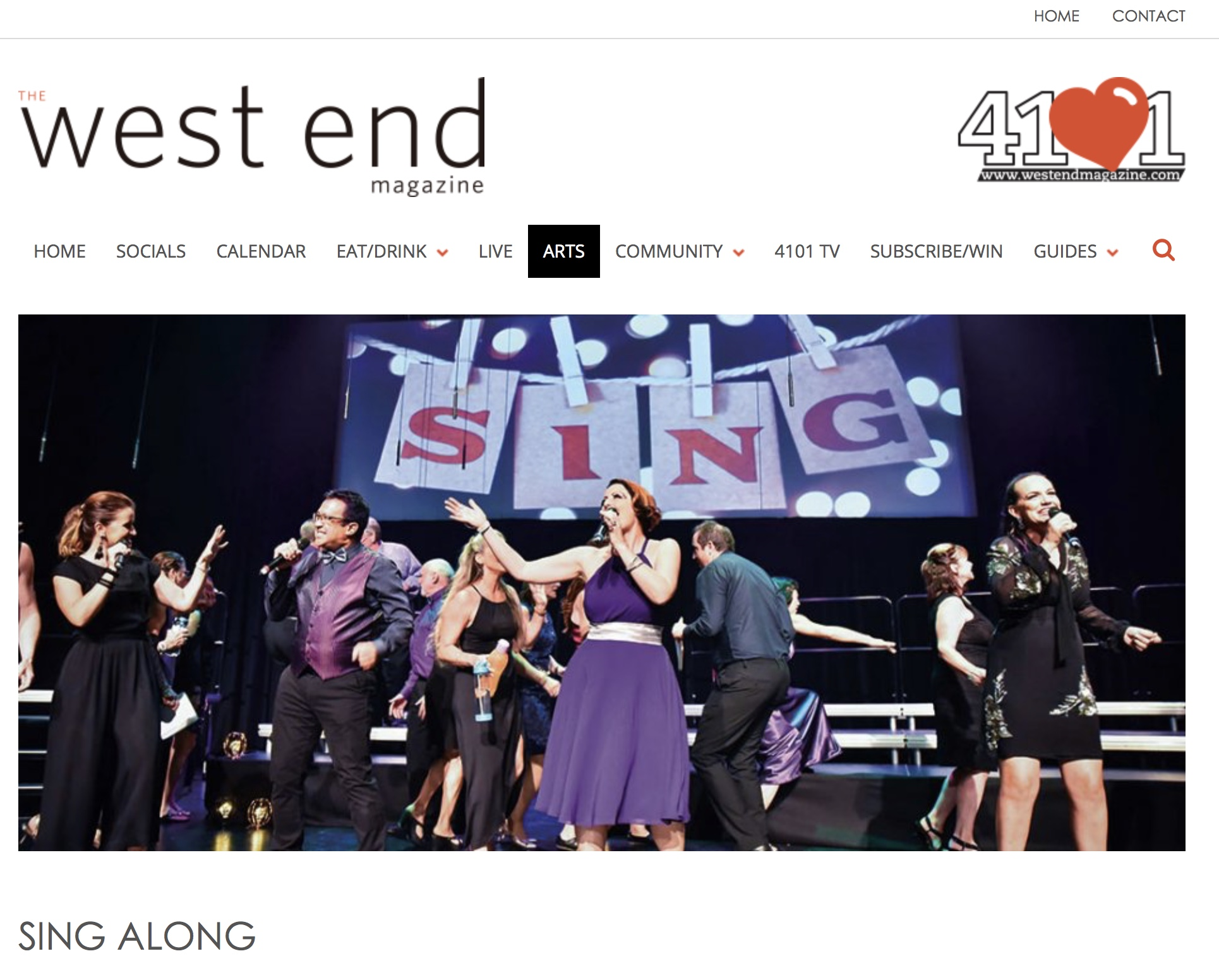Sing A Long in West End Magazine